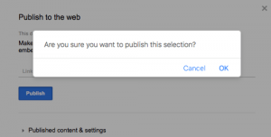 Google Docs Publish to Web Permission