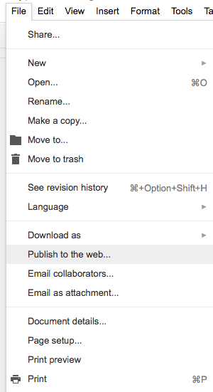Google Docs Publish to Web