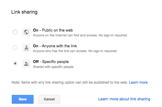 Google Apps Link Sharing Settings