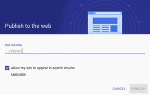 Google Sites Publish Settings