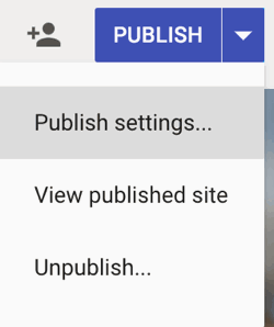 Google Sites Publish Settings