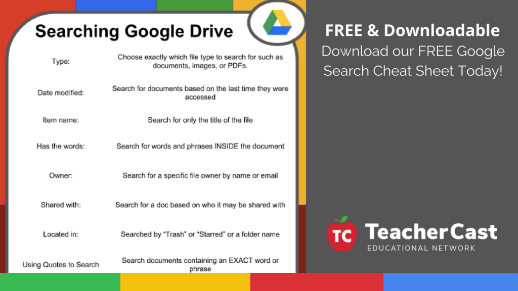 Downloadable Google Drive Cheat Sheet