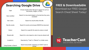 Downloadable Google Drive Cheat Sheet