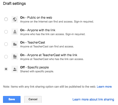 Google Sites Sharing Settings