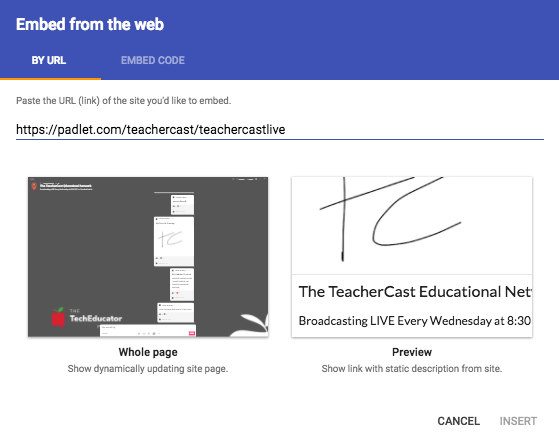New Google Sites Embed