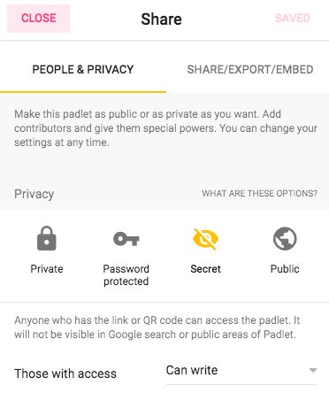 Padlet Security Settings
