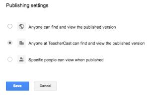 Publishing Settings for Google Sites