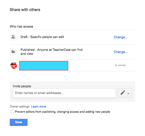 """Share with others"" Google Sites Settings"
