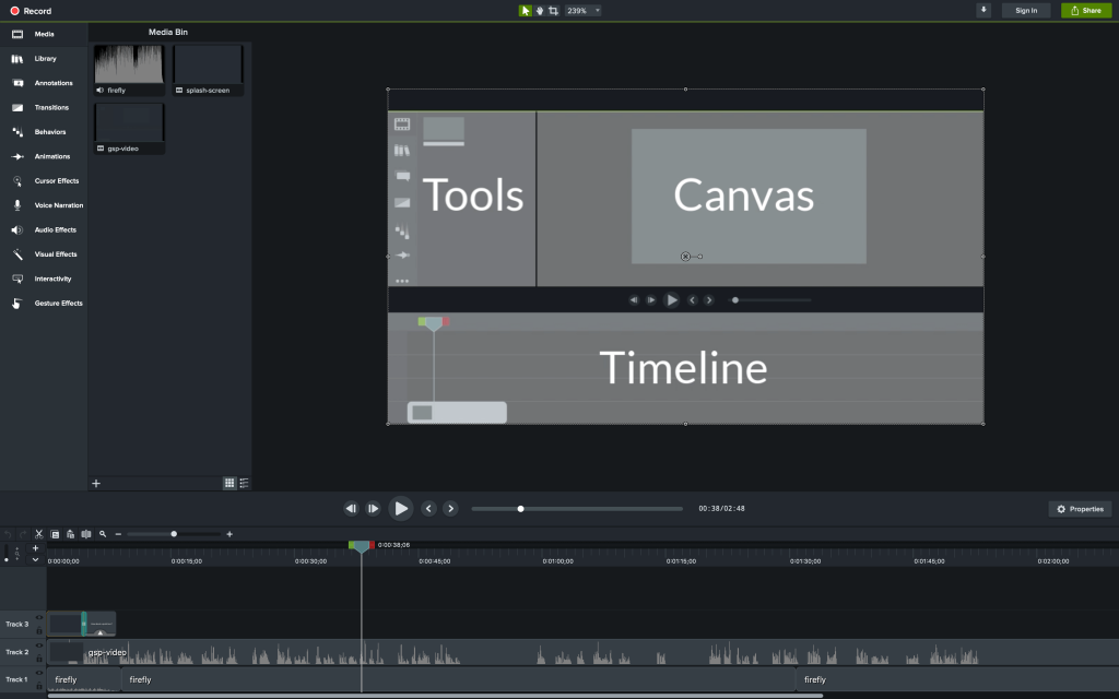 Camtasia 2019 On Screen Dashboard