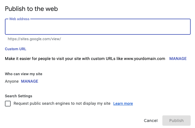 Google Sites Publish To Web Menu