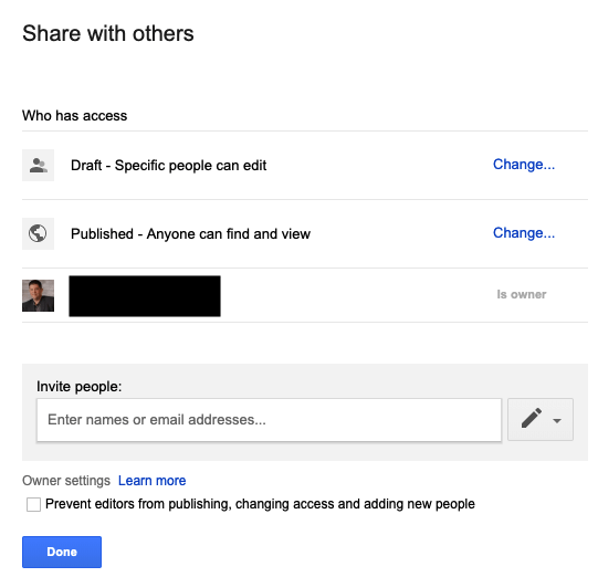 New Google Sites Share with Others Menu