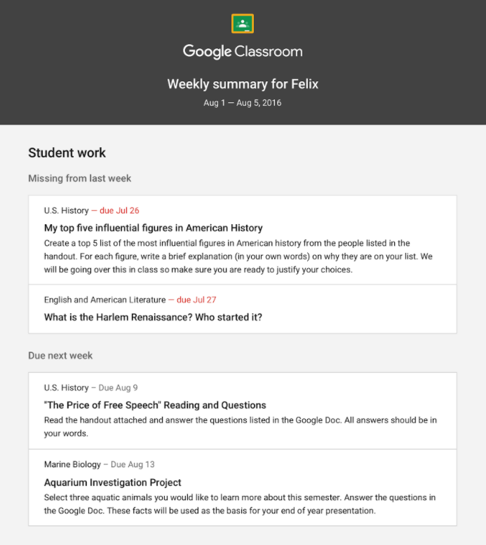 Google Classroom Parent Email Summary
